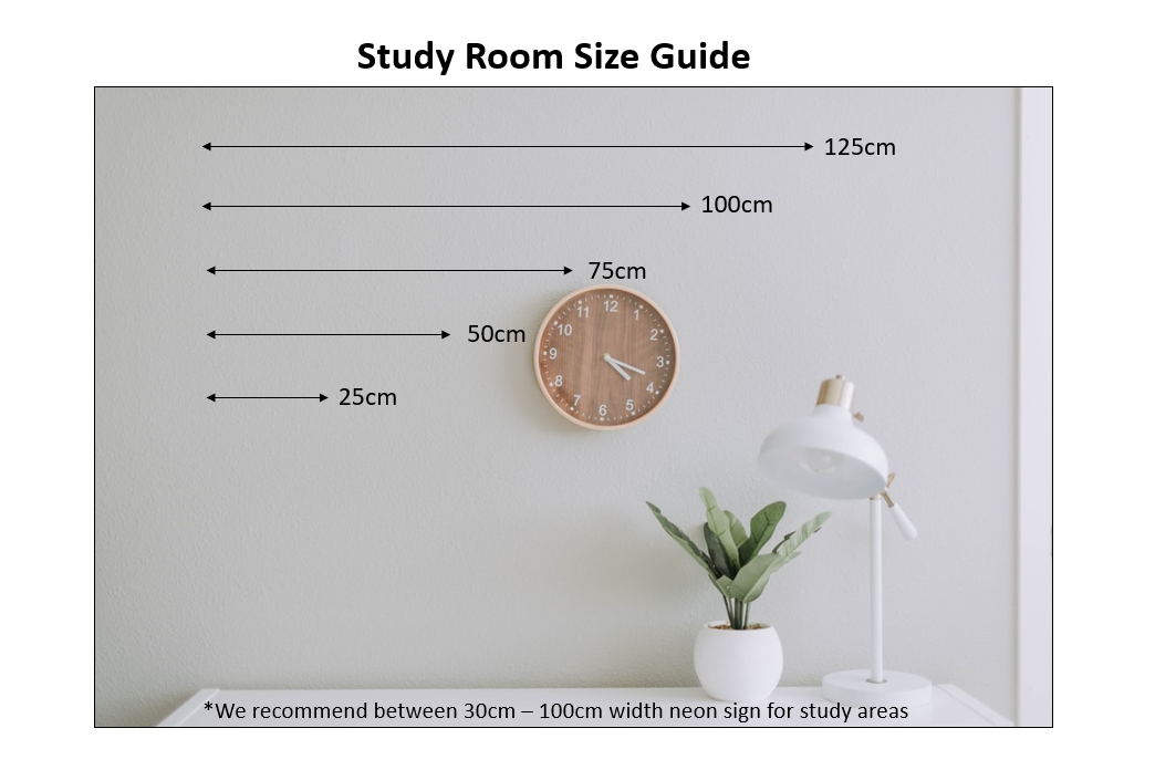 Study Room Neon Size Guide